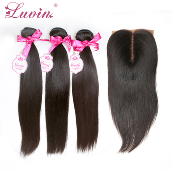 Hot Sale 4Pcs/LOT 1 Piece Silk Base Closure With Hair Bundles 3Pcs Human Virgin Hair Weft With Closure For Full Head Straight
