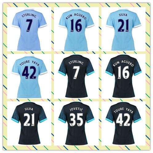Top Sell 2015-2016 Thailand City Women Women's #7 Sterling 16# Kun Aguero Silva Away Home Blue soccer Jersey Shirt(China (Mainland))