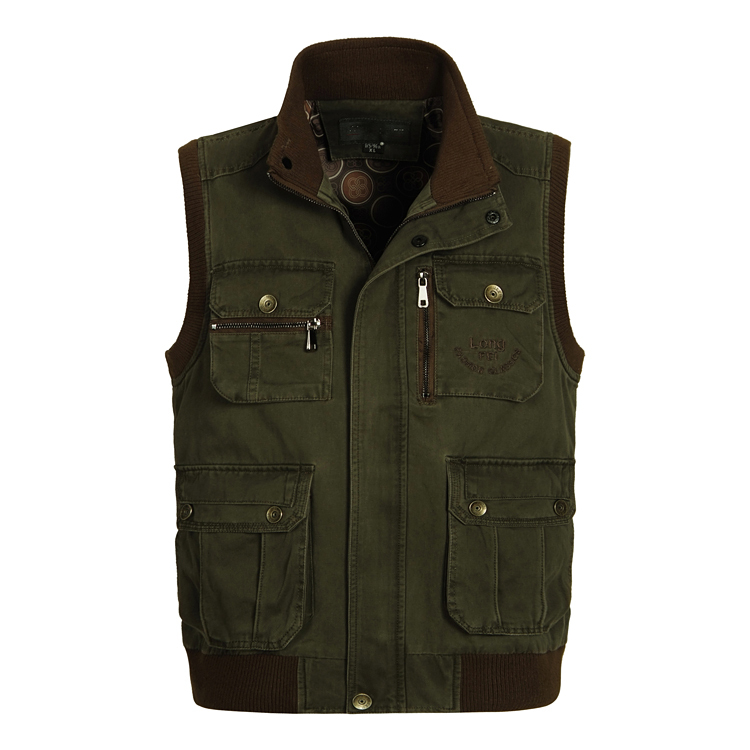 2015 New Mens Big Size XXXXL 5XL 6XL Outdoor Hunting Fishing Vests Army Green Male Waistcoat With Many Pockets All Cotton(China (Mainland))