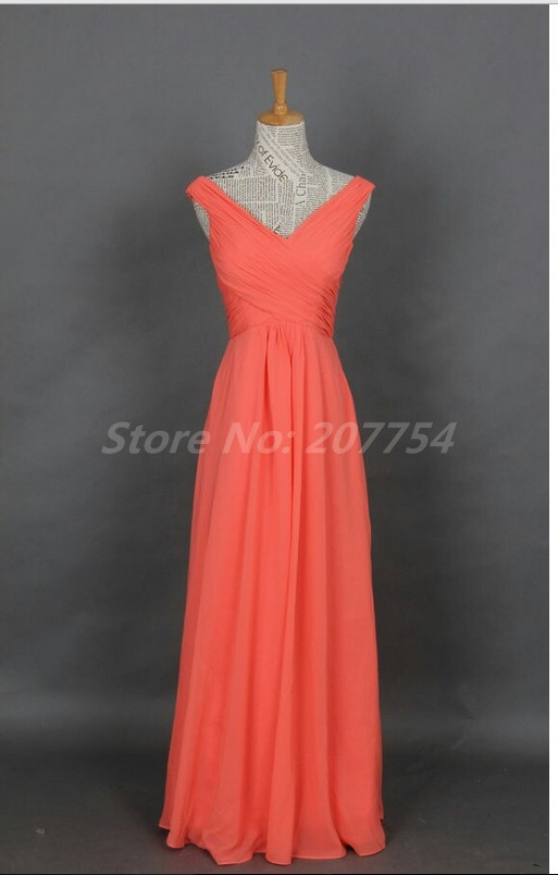 Elegant brief dress v neck cheap coral bridesmaids dresses for Wedding party dresses cheap