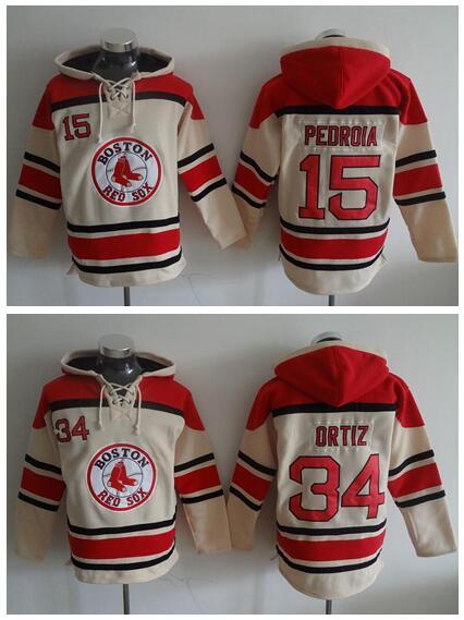 Boston Red Sox Baseball Hooded 34 David Ortiz Hoody Beige 15 Dustin Pedroia Pullover Sweatshirt Fashion Stitched Best Quality
