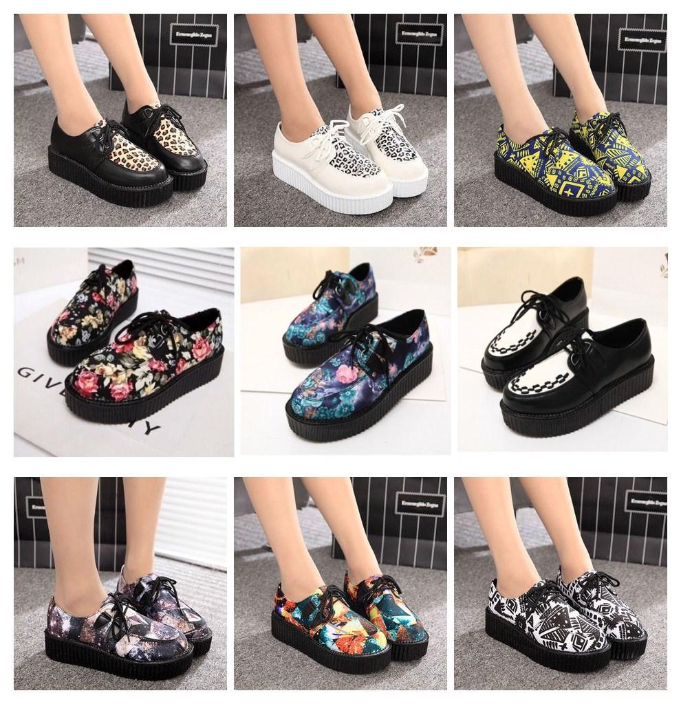 2015 Summer Fashion Harajuku Black Suede British Goth Punk Creepers Flats Lace Skull America USA Flag Boat Shoes - Hangzhou Jasmine, Ltd store
