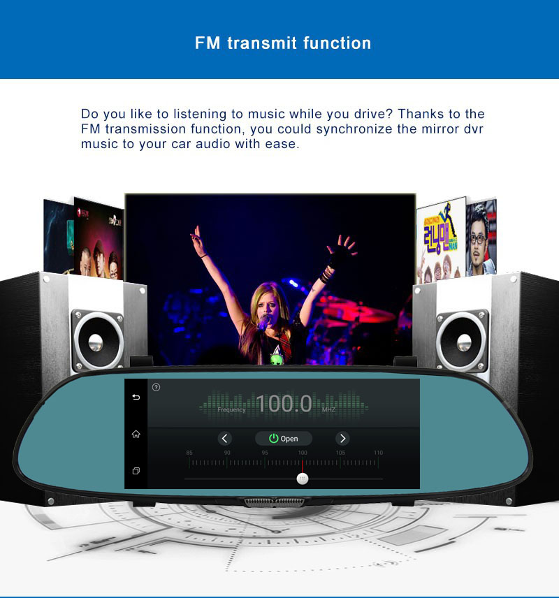 7″ 3G Android 5 Car DVR Camera GPS Navigation Video recorder Bluetooth Dual Lens Wifi rearview mirror Camcorder Dash cam HD1080P