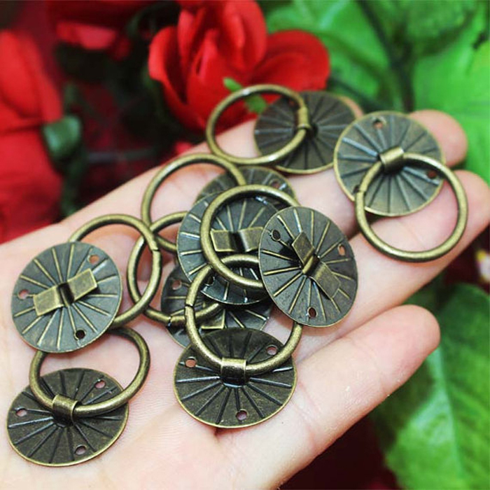 20mm antique wooden gift box small handles iron round shap jewelry Storage Box cabinet drawer Mini knobs furniture accessories(China (Mainland))