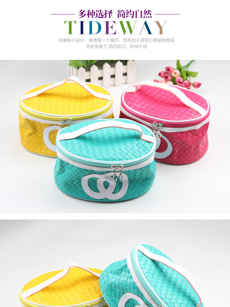 free shipping Ms cosmetic bag Weave a spell color oval cosmetic bag imitation leather cosmetic bag(China (Mainland))