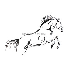 High quality Waterproof Black Jumping Horse Art Wall Stickers Vinyl Decal Stylish Home Graphics Bedroom Decoration 3 sizes(China (Mainland))