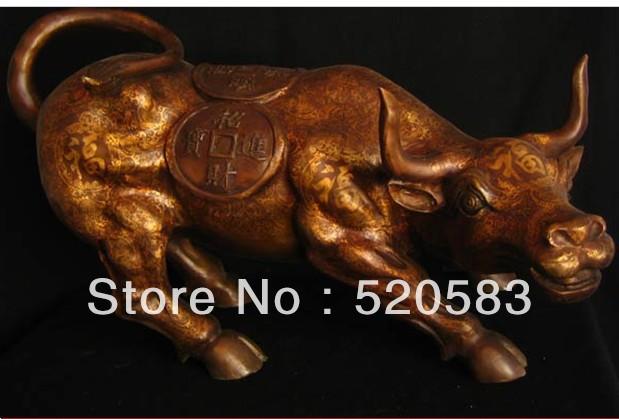 """free 24""""Old Chinese Gilt Purple Bronze Wealth Buffalo Statue fast(China (Mainland))"""
