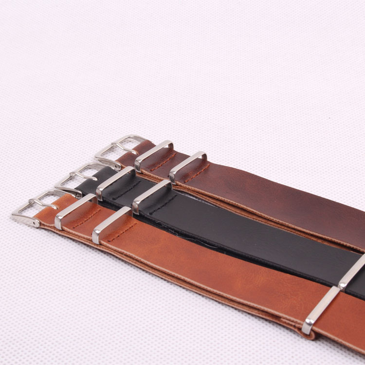 NATO Brown black PU Leather 24 mm Wholesale Fashion Watchbands Men Women Casual Watches Straps Wristwatch