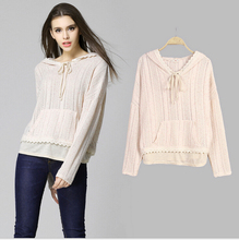 S-XL Cute Sweater Women Long Sleeve Lace Patchwork Knitting Sweater Woman Pullovers Pull Femme Sweter Mujer Beige Hooded Clothes(China (Mainland))
