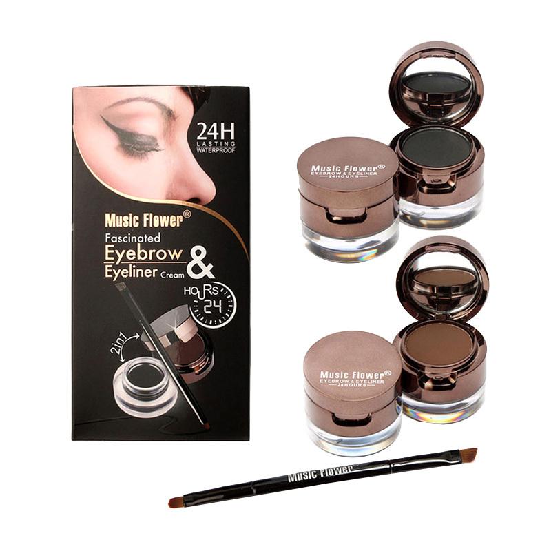High Quality 4 in 1 Brown + Black Gel Eyeliner Brown + Black Eyebrow Powder Make Up Water-proof Makeup Cosmetic(China (Mainland))