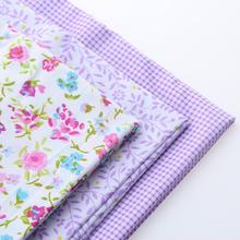 Cotton Fabric For Sewing Handmade Material Hometextile DIY Cloth For Sheet Bag Dress Shirt 3 Design Leaves Plaid Purple 20x25cm