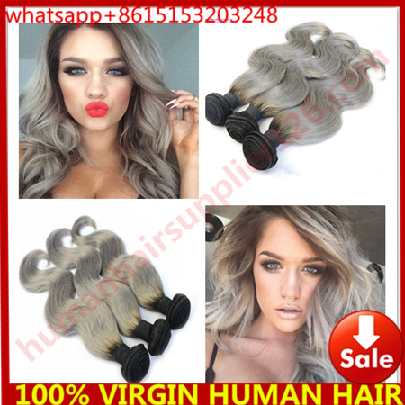 Ombre Grey Hair Extensions boby wave 3pc/lot Brazilian Ombre Hair Extensions 1b/grey Color Ombre Brazilian Hair Weave Bundles