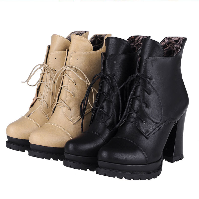 Spring/Autumn New solid color lace-up ankle boots comfortable and fashion ankle boots round toe thick heeled boots D3590<br><br>Aliexpress