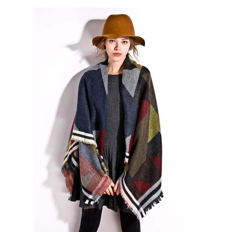2015 new s autumn and winter color geometry scarves
