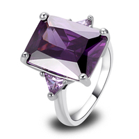 Wholesale Noble Amethyst Decent 925 Silver Ring Size 7 8 9 10 New Fashion Jewelry Gift