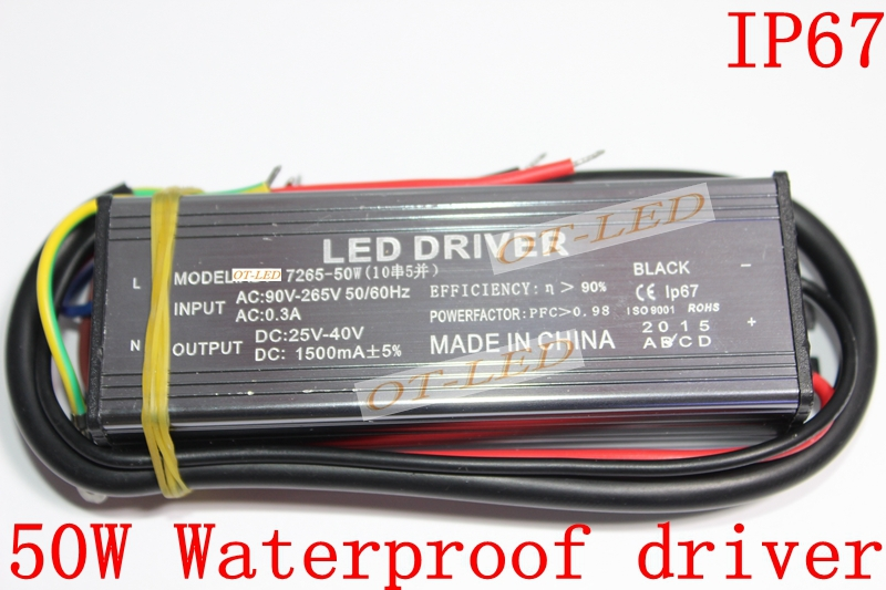 50W High Power LED IP67 Waterproof Constant Current Driver AC85-265V to DC25-40V 1500mA For 50W chip 10 Series 5 parallel(China (Mainland))