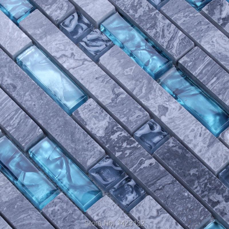 Stone Mosaic Tile Patterns Blue Crystal Glass Tile