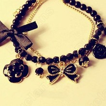 2014 NEW Fashion Crystal Rose Bowknot Camellia Sweet Pearl Bracelet Bangle Cute Elegant Wholesale