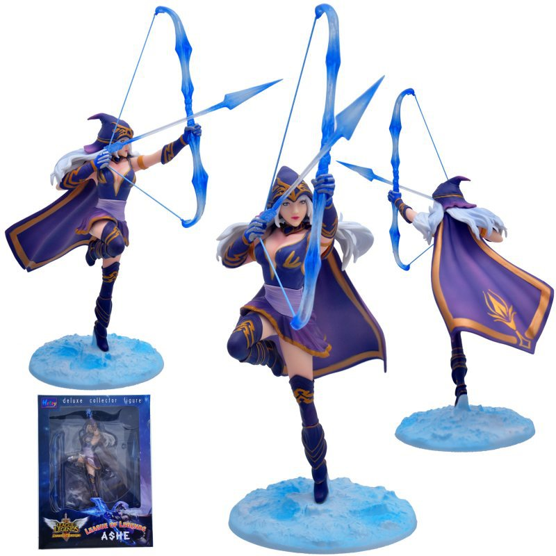 18cm Sky Blue Bow with Purple Cloak Lol Ashe Collector Figures(China (Mainland))