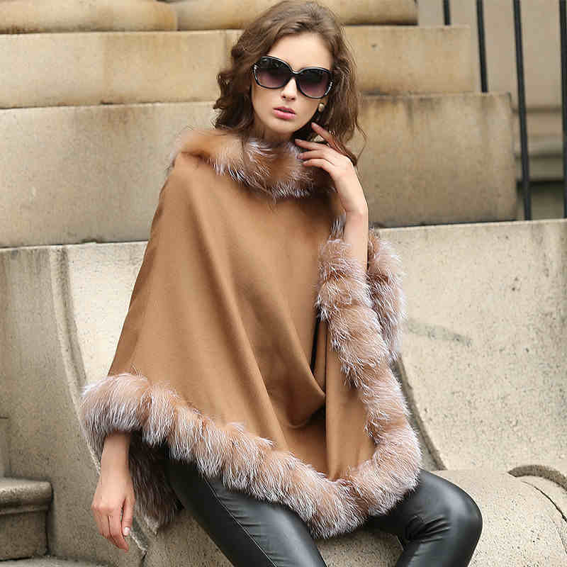 Free Drop shipping,100% cashmere cape with real fox fur trim,length 70cm Brand designer Pashmina women wedding Poncho CW246(China (Mainland))