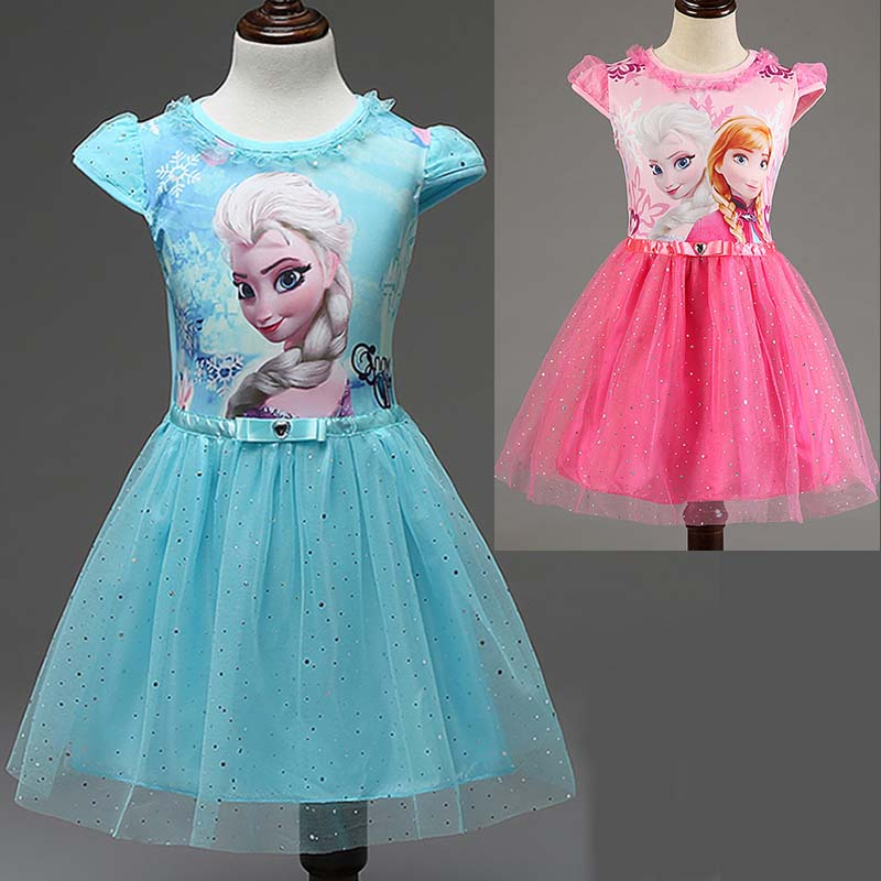 2016 Summer children's clothing girls dresses elsa princess dress for girl infant kids costume party baby snow Queen clothes(China (Mainland))