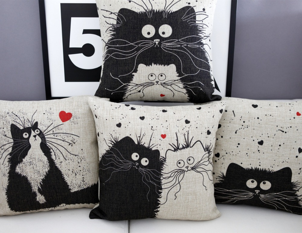 Vintage Linen Pillow Cushion Cover Throw decorative  : Vintage Linen Pillow Cushion Cover Throw decorative cushion covers 45cm 45cm Black White Cats Pillow Case from www.aliexpress.com size 1000 x 773 jpeg 231kB