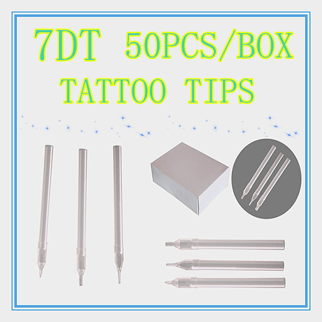 Box Of 50 Flat Size 7DT white Disposable Long Tattoo Tips Nozzle Supply HLDT-A-7DT
