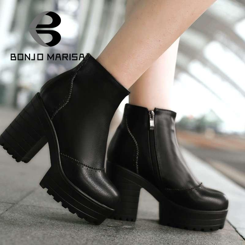 Big Sale Ladies Round Toe Motorcycle Boots Sexy Square High Heel Spring Autumn Wedding Shoes Cowboy Girl Ankle Boots