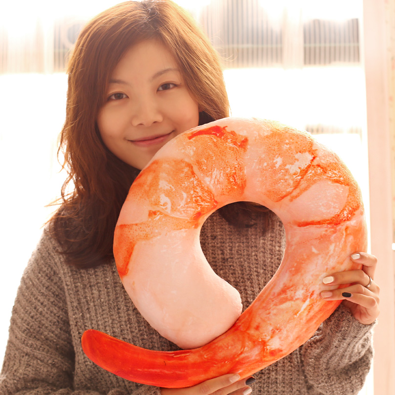 Gift for kids 1pc 40cm cute funny shrimp meat peeled plush hold doll U neck pillow novelty creative stuffed toy(China (Mainland))