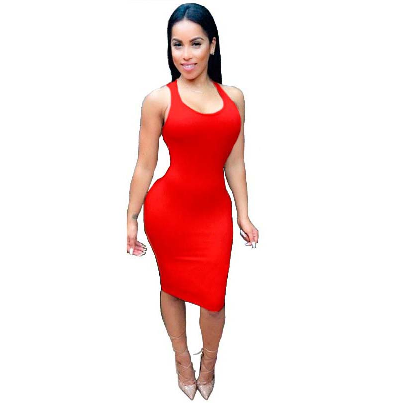 sexy club dress 2015 party dresses black bodycon evening party Knee-Length Sleeveless Backless O-Neck bandage dress(China (Mainland))
