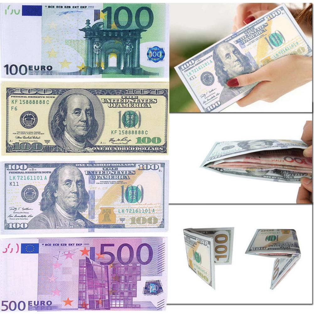 Chic Unisex Mens Womens Currency Notes Pattern Pound Dollar Euro Purse Wallets 2016 Fashion
