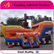 GOOD Quality Nice Price Pirate Ship Bouncy House, Inflatable Castle Slide With Blower,  Inflatable toys. Bouncing Bed Trampline(China (Mainland))