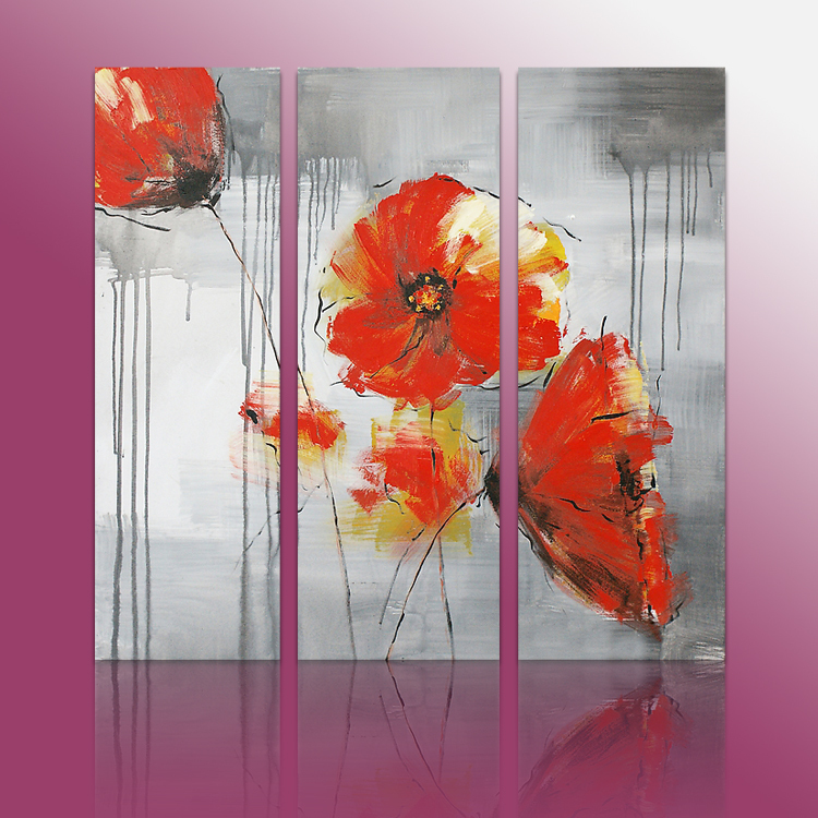 Hot sell 3 piece art sets modern acrylic painting flowers(China (Mainland))