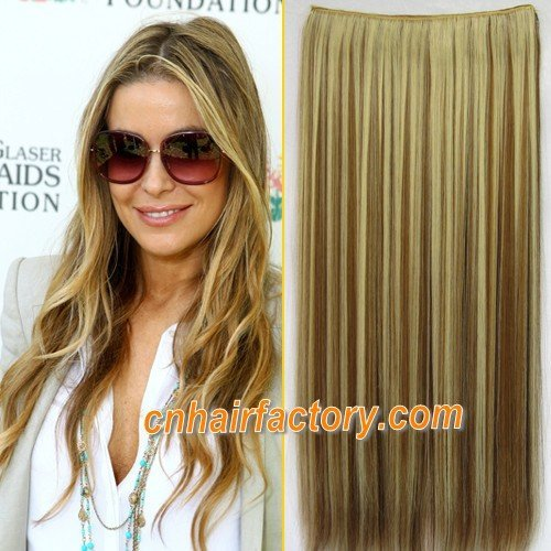 "Heat Resistant Hairpieces 1PCS 24"" 100g Clip in Hair Synthetic Hair Extensions #10BH27H Highlight Brown & Blonde Hair Extension"