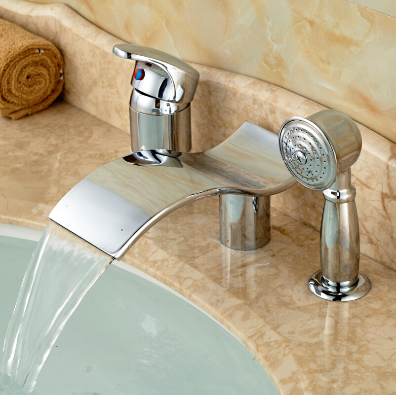 Polished Chrome Waterfall Spout 3pcs Widespread Bathtub Faucet Single Handle Roman Tub Faucet In