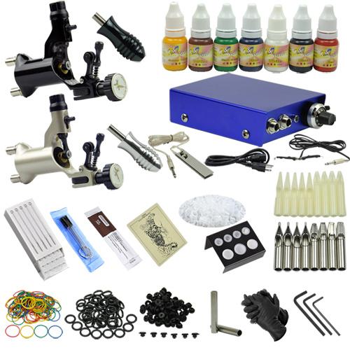 2 rotary tattoo motor guns professional tattoo machine kit for Tattoo kit rotary