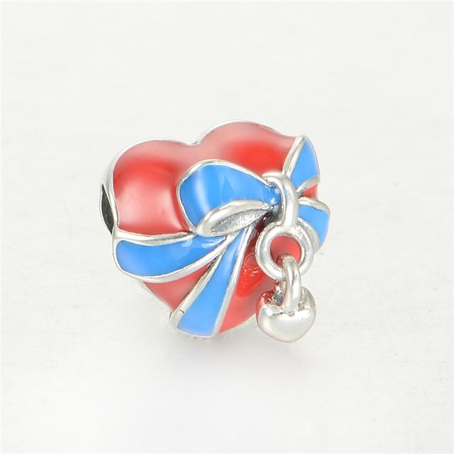 S925 стерлингового серебра Jewerly эмаль в форме сердца с синим поясом бусины DIY выводы подходит европейский бренд очаровывает браслеты и ожерелье