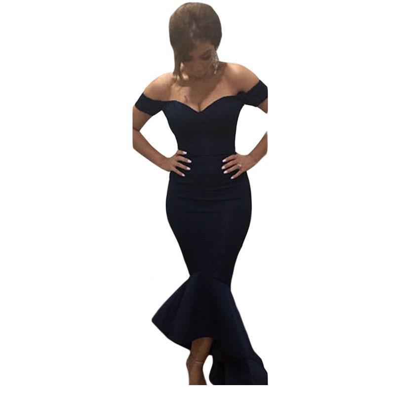New Fashion Formal Casual Maxi Dress Short Sleeve Navy/Maroon Off-shoulder Mermaid Jersey Long Dress Women LC60171 Black Friday(China (Mainland))