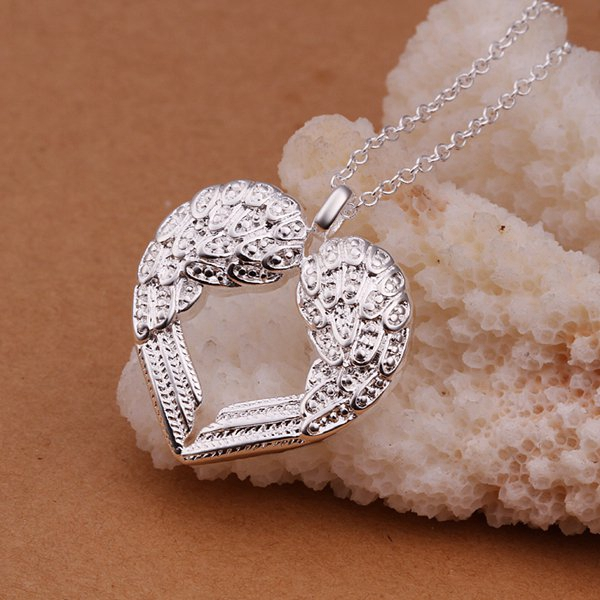 Free Shipping Hot New Fashion silver necklaces & pendants Angel Heart Wings big necklace wedding SMTN357(China (Mainland))