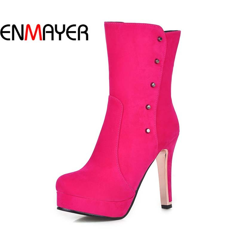 ENMAYER new arrival women boots winter high heels fashion round toe ankle boots fashion red wedding party women shoes size 34-43<br><br>Aliexpress
