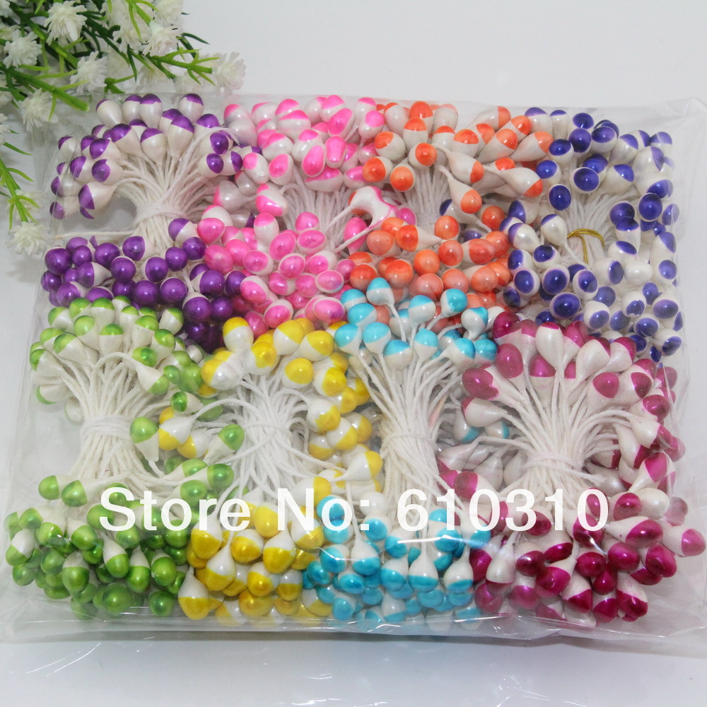 Free shipping wholesale 5mm Pearl Multicolor double colors Nylon stocking flower stamen 720pcs/Lot artificial stamen(China (Mainland))