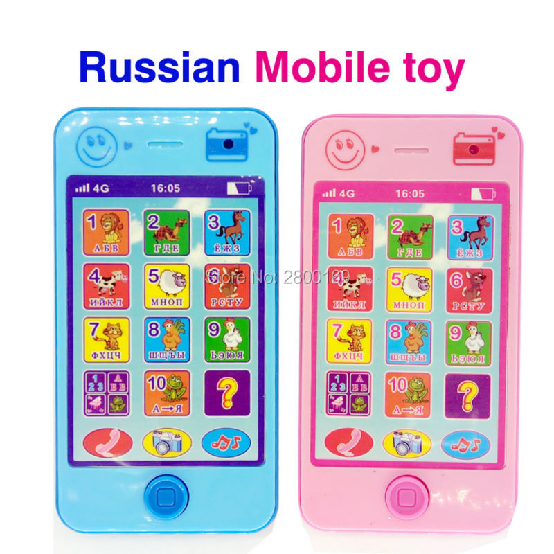 russian language Baby Early Learning Machines Educational toy phone with animal sounds kids phone musical Play mobile for kids(China (Mainland))
