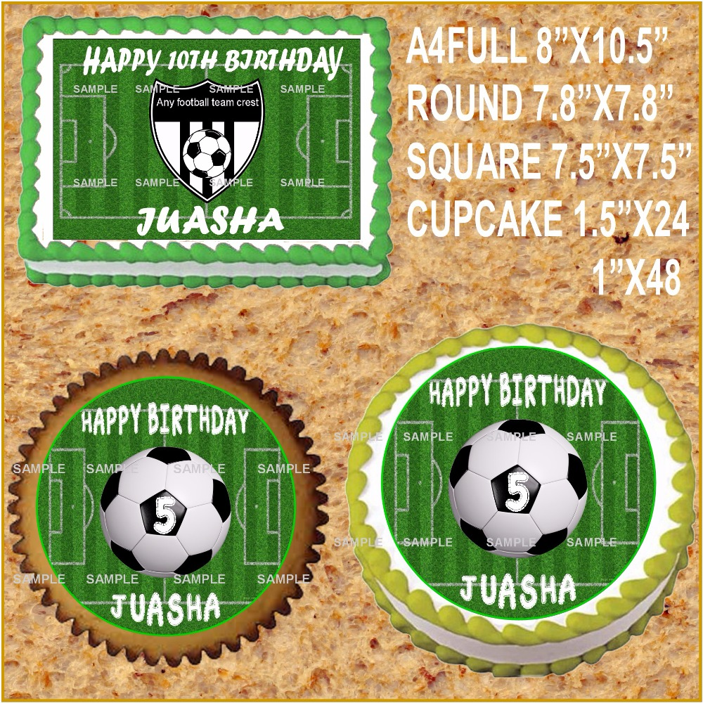 Football Pitch Edible cake topper wafer rice paper for cake cupcake cookie decoration custom name Birthday cake decor supplier(China (Mainland))