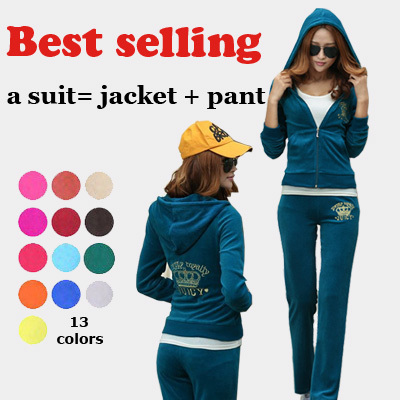 2014 new winter women's velvet sports suit casual tracksuits embroidery sweatshirts hoody sportswear set cardigan QY13082638(China (Mainland))