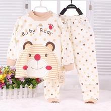 SL-13 2015 Spring Girls Sleep Sets New Cute Baby Sleepwear Smile Bear Printing Autumn Bebe Sleepwear Cartoon Sleepwear(China (Mainland))