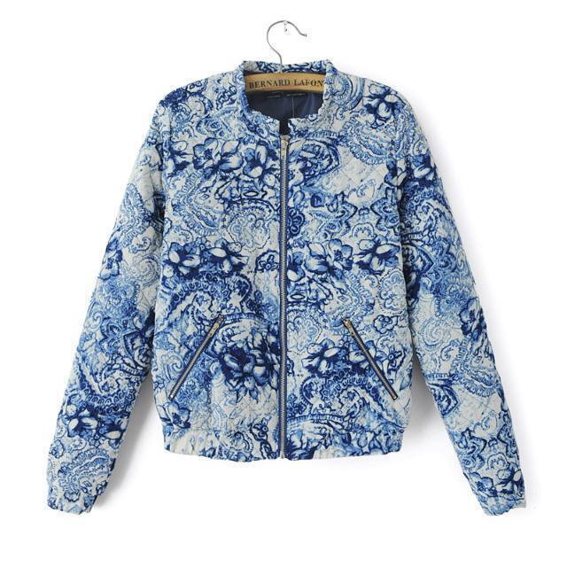 Vintage Patterned Bomber Jacket - JacketIn