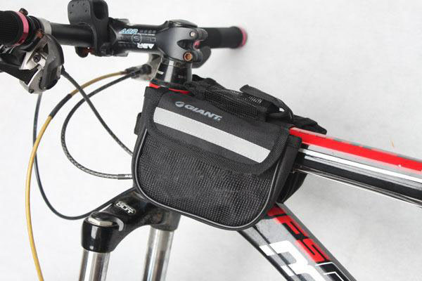 2pcs/lot Giant bike bicycle cycling saddle bag double side bag ride frame tube three-in ride bag black bicyle accessories(China (Mainland))