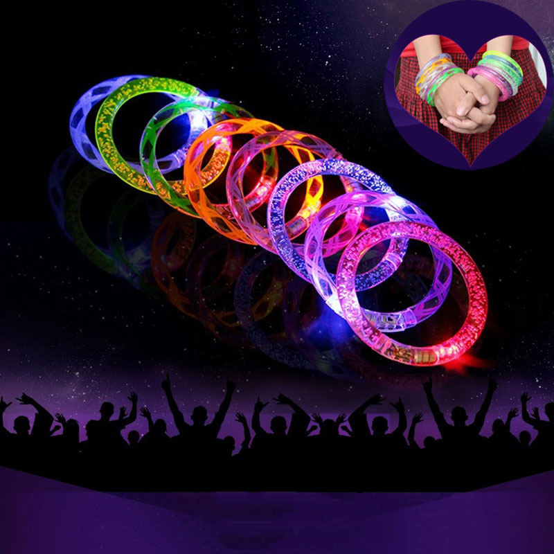 New 5PCS Multicolor LED Flashing Bracelet Light Up Acrylic Bangle for Party Bar Halloween Chiristmas Hot Dance Gift New TB Sale(China (Mainland))