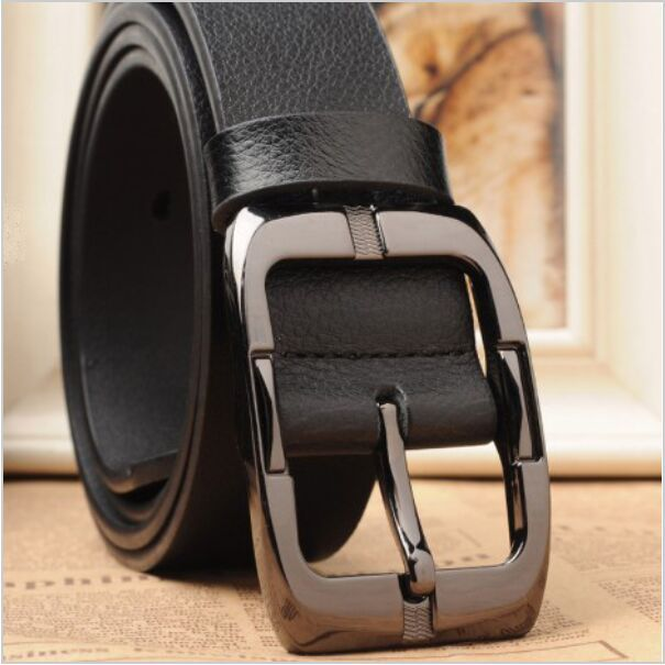 Hot Fashion Designer Belts for Men Brand Leather Belt Cowskin Pin Buckle Black Business Trouser Strap Waist Band Jeans Waistband(China (Mainland))