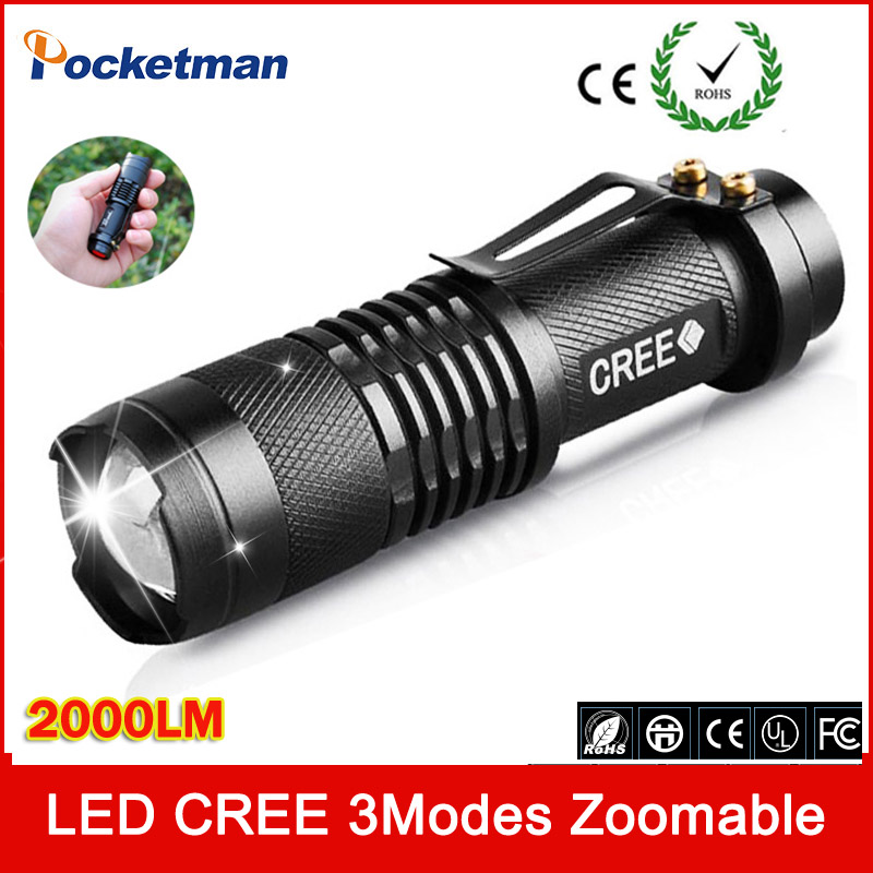 50% Mini Q5 LED Flashlight 2000 Lumens Waterproof Zoomable CREE LED Flashlight 3 Modes LED Torch Pen Light Free Shipping(China (Mainland))
